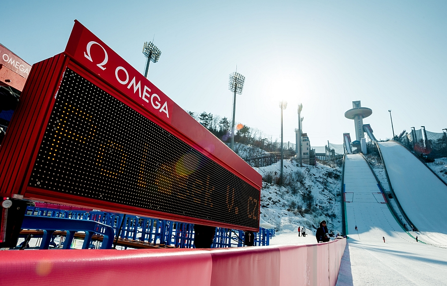 Omega Scoreboard at winter olympics.