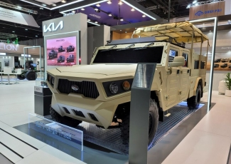 Kia displays Light Tactical Cargo Truck and Bare Chassis concepts at the IDEX defense exhibition in the UAE.